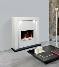 WHITE MDF FREE STANDING INSET ELECTRIC FIREPLACE HEATER ...