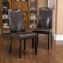 Parson Dining Room Chairs Folding Back Chair Set Of 2 Brown Leather W/ Handle | Ebay