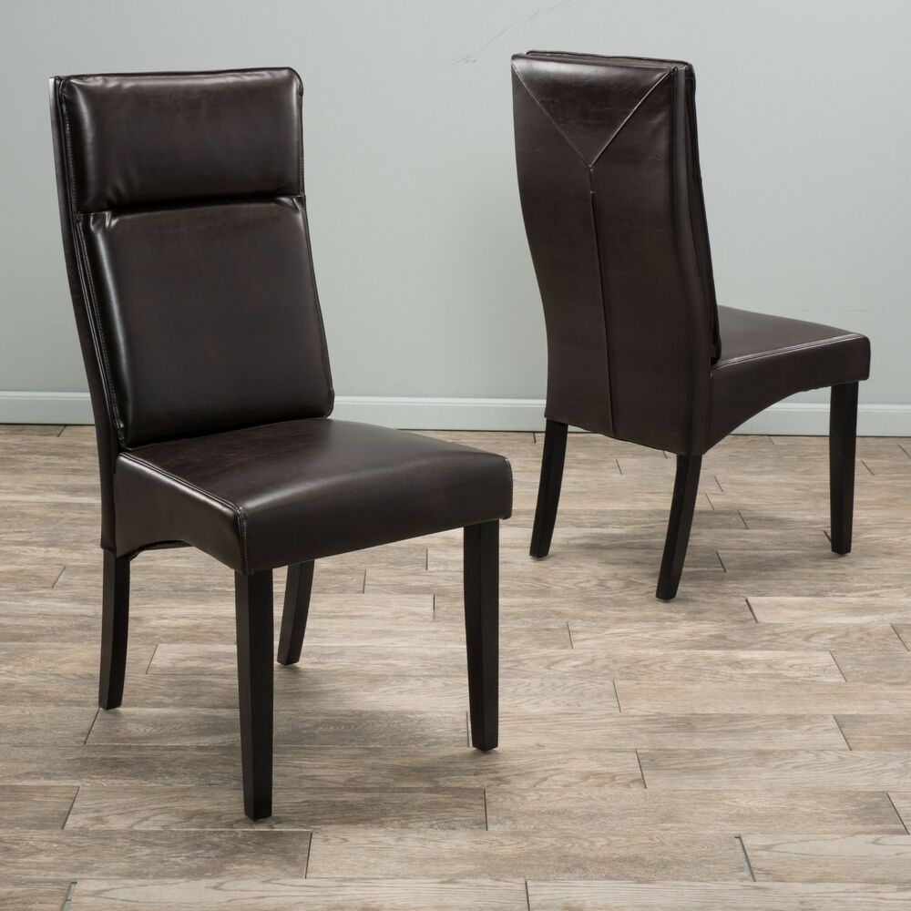 Set of 2 Dining Room Furniture Brown Leather Padded Dining