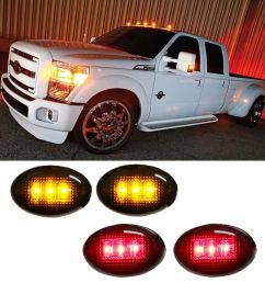 details about ford f350 f series 4pc led fender bed side marker lights smoked lens amber red  [ 1000 x 1000 Pixel ]
