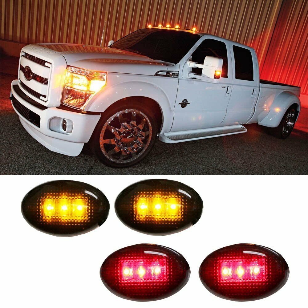 medium resolution of details about ford f350 f series 4pc led fender bed side marker lights smoked lens amber red