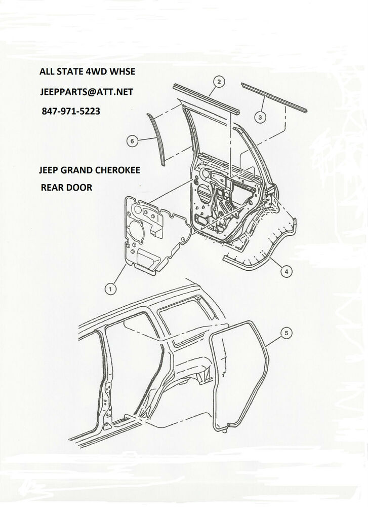 NEW RIGHT PASSENGER SIDE REAR DOOR SEAL 1999-2004 JEEP