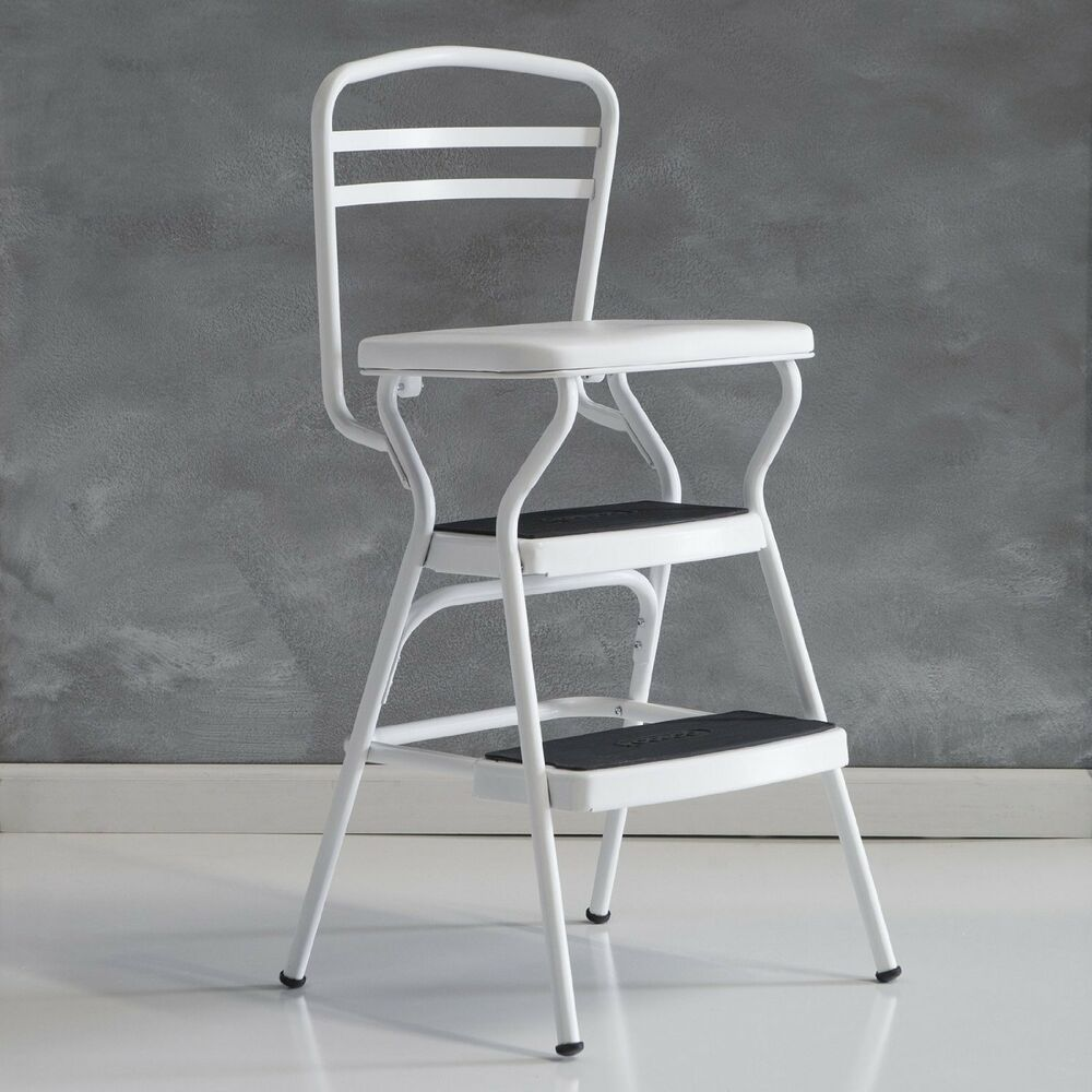 Cosco White Retro Counter Chair  Step Stool with Liftup
