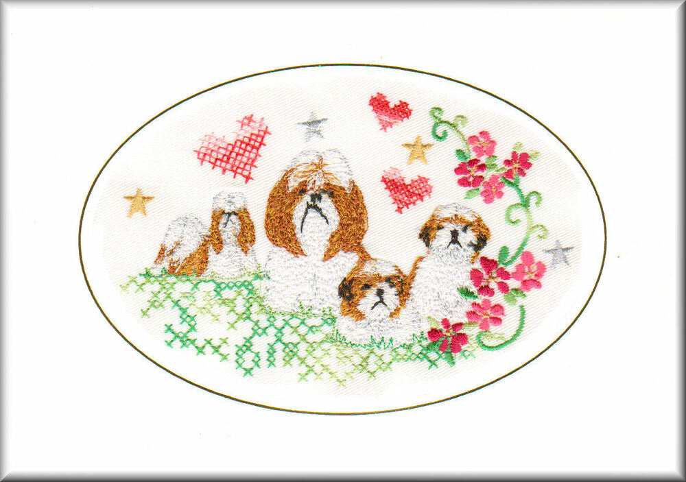 Shih Tzu Birthday Card Embroidered By Dogmania EBay