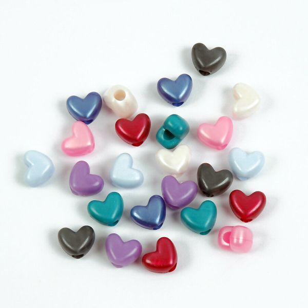 Multi Pearl Colors Heart Shaped Pony Beads Vertical