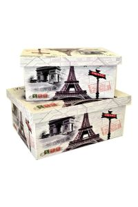 Set 2 Eiffel Tower Paris French Nesting Lined Wood Home ...