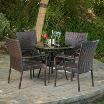 Outdoor Patio 5pc Multibrown -weather Wicker Glass
