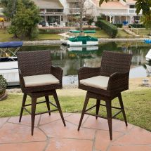 Set Of 4 Outdoor Patio Furniture Brown Pe Wicker Swivel