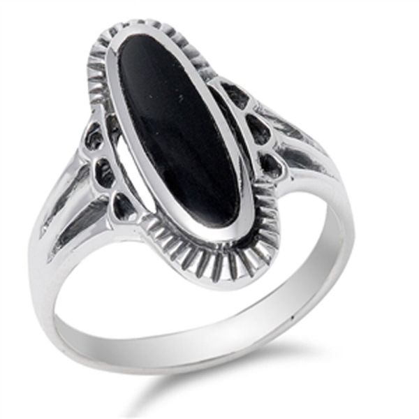 Women's Long Black Onyx Unique Ring New .925 Sterling ...