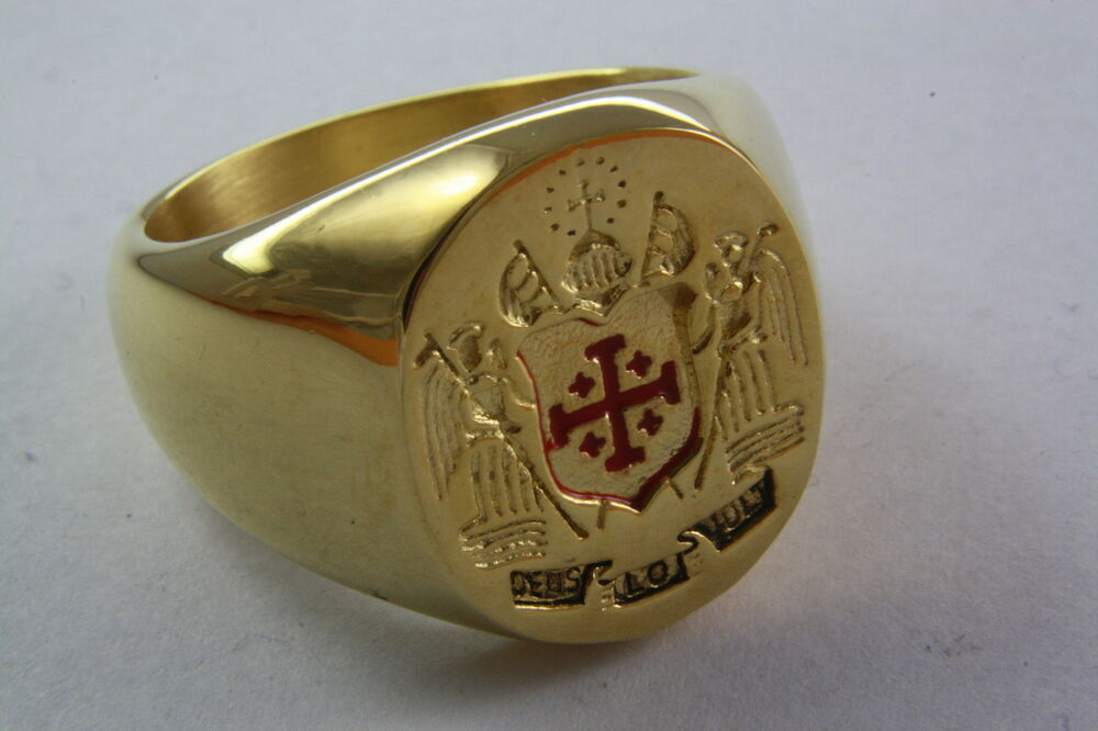 JERUSALEM CROSS RING STAINLESS STEEL GOLD PLATED CREST