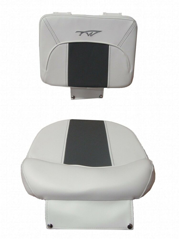 plastic molded chairs chair cover hire lake district tidewater boats captains cushion set bottom / backrest white gray | ebay