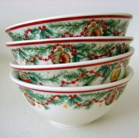 Set of 4 Pfaltzgraff New Holiday Garland Christmas Soup ...