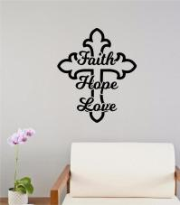 Faith Hope Love Cross Religious Decor Vinyl Decal Wall