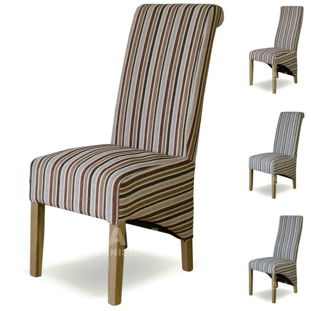 Fabric Striped Dining Chairs Solid Oak High Quality Dining