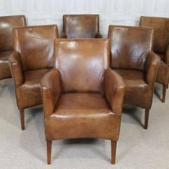 Distressed Leather Armchair Uk White Tufted Chairs Tan Antique Style Vintage Dining Chair Kempton | Ebay
