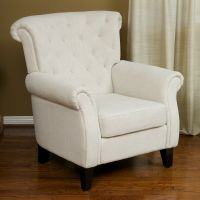 Living Room Furniture Light Beige Tufted Fabric Club Chair ...