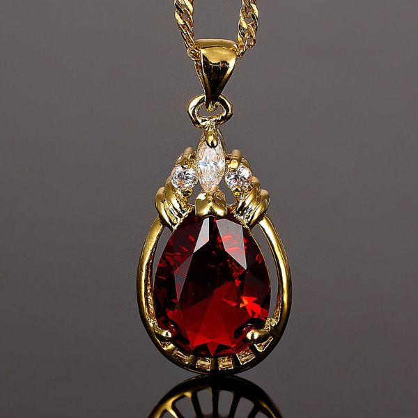 Xmas Pear Cut Red Ruby Gold Tone Pendant Necklace Lady