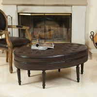 Elegant Oval Brown Leather Ottoman Coffee Table w/ Tufted ...