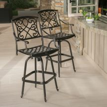 Set Of 2 Outdoor Patio Furniture Copper Finish Cast