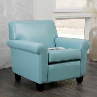 Living Room Furniture Teal Blue Leather Club Chair | eBay