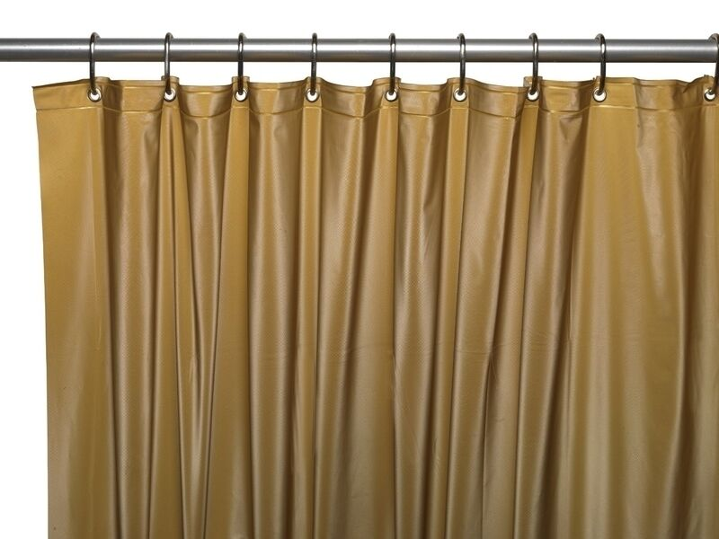3 Gauge Vinyl Shower Curtain Liner w Weighted Magnets  Metal Grommets Gold NEW  eBay