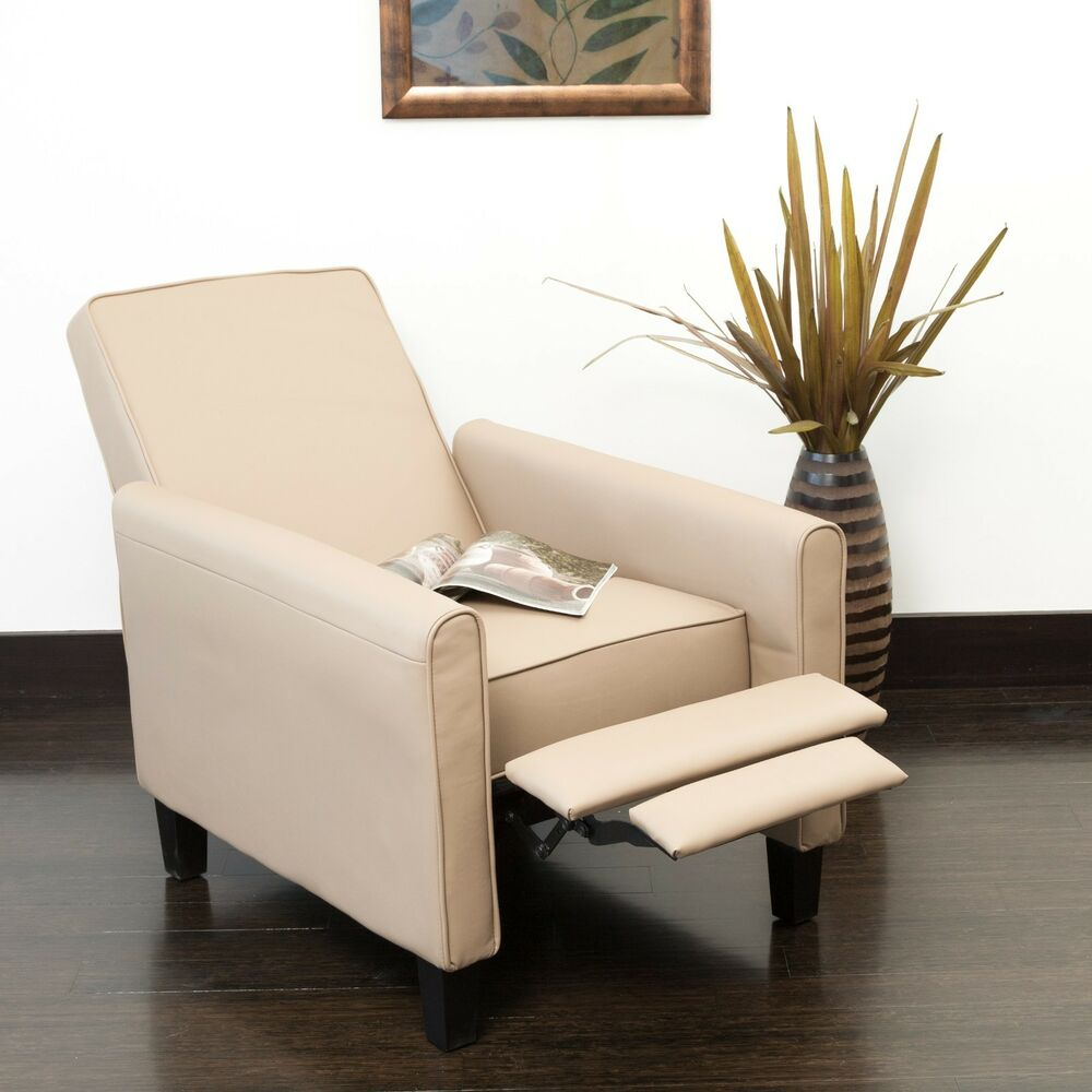 Living Room Contemporary Camel Leather Recliner Club Chair