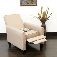 Living Room Contemporary Camel Leather Recliner Club Chair ...