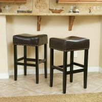 Set of 2 Backless Brown Leather Counter Height Stools w
