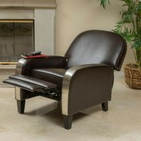 Living Room Brown Leather Metal Nailhead Accent Recliner ...