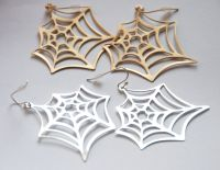 Dangling Spider Web Earrings / Gold or Silver-tone Fish ...