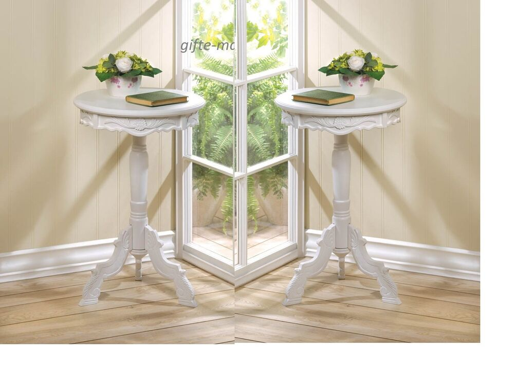2 Small WHITE Distressed Round Shabby Baroque Bedside