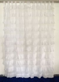 French Shabby Chic Curtains Ruffled White Girls Room ...