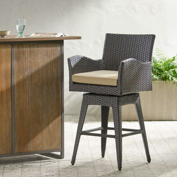 outdoor patio swivel bar stools Outdoor Patio Furniture All-Weather Brown PE Wicker Swivel