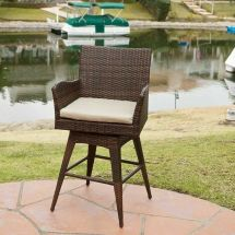 Outdoor Patio Furniture -weather Brown Pe Wicker Swivel