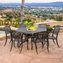 Outdoor Patio Furniture 7pcs Bronze Cast Aluminum Hexagon