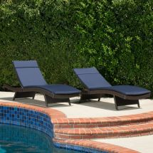 Set Of 2 Outdoor Adjustable Brown Wicker Chaise Lounge