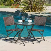 Outdoor Patio Furniture 3pc Brown Pe Wicker Folding Bistro