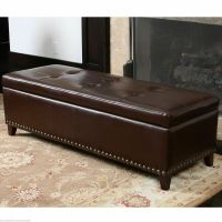Elegant Brown Leather Storage Ottoman Bench w/ Tufted Top ...