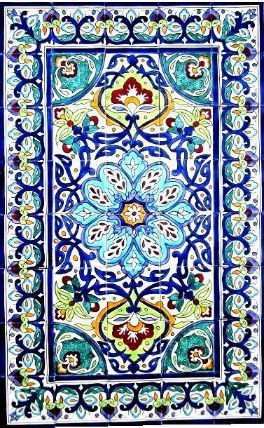 DECORATIVE CERAMIC TILES LARGE MOSAIC PANEL HAND PAINTED WALL MURAL 48in x 30in  eBay