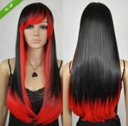 fashion women straight black mixed