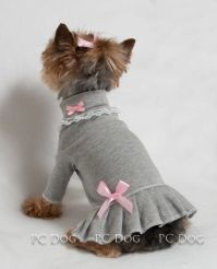 L Gray and Pink Turtleneck T Shirt Dog Dress Knit clothes