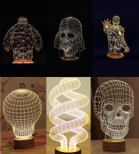 3D Illusion Creative Skull Lamp LED Night Light Micro USB ...