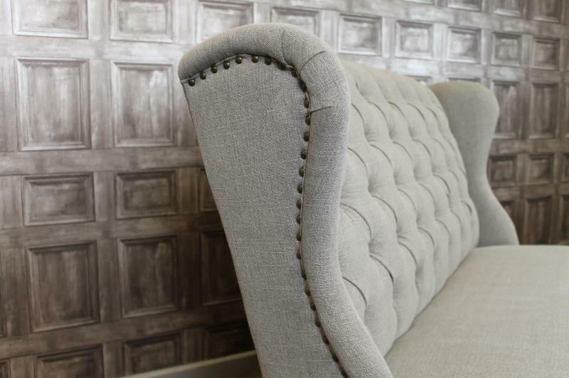 BUTTON BACK UPHOLSTERED BENCH IN STONE FRENCH STYLE ST
