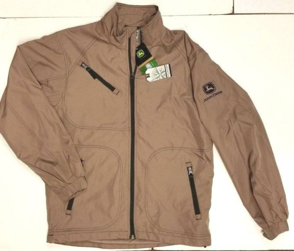 John Deere Brown 100 Nylon Zip Jacket Size Small