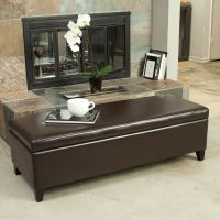 Living Room Furniture Brown Leather Storage Ottoman Bench ...