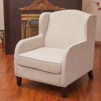 Living Room Furniture Natural Fabric Wingback Club Chair ...