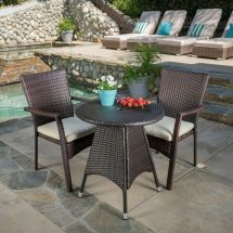 Contemporary Outdoor 3-piece Brown Wicker Bistro Set With