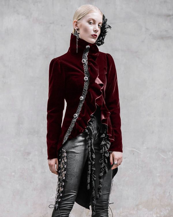 Devil Fashion Requiem Womens Tailcoat Jacket Red Velvet