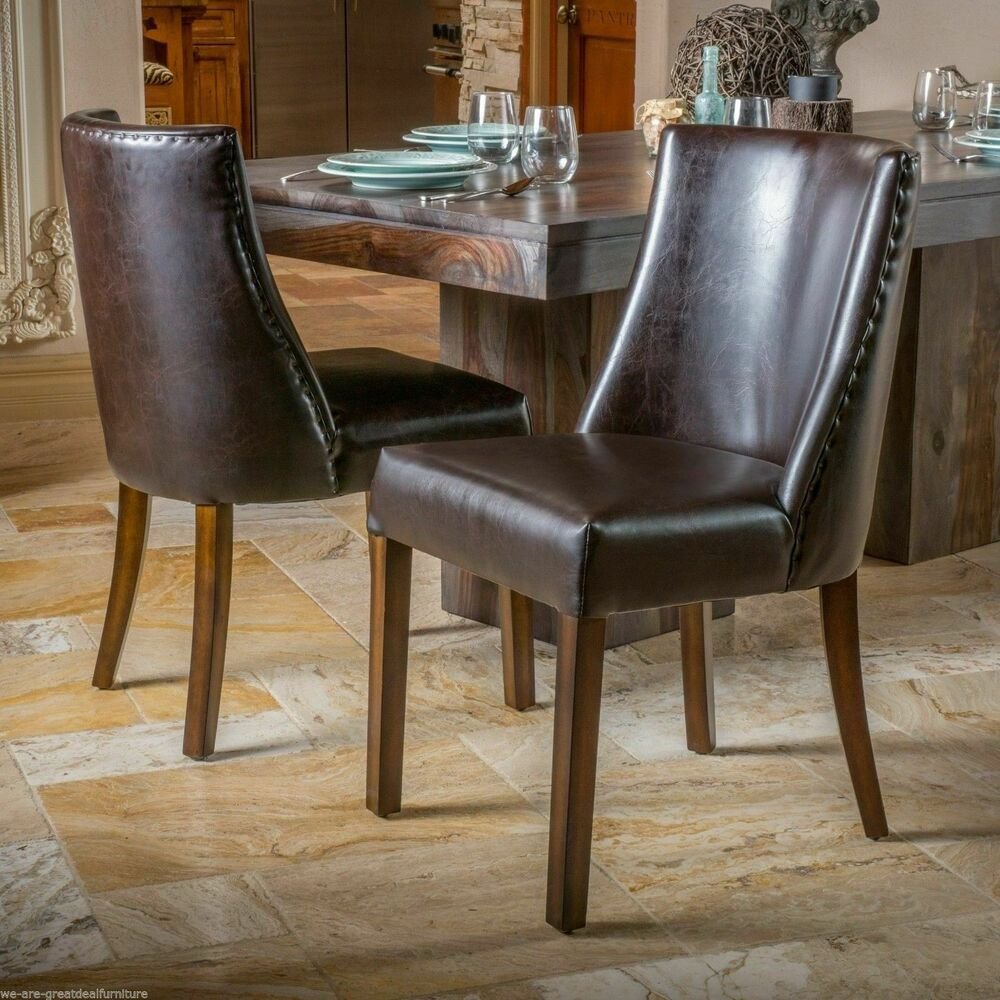 Set of 2 Dining Room Furniture Brown Leather Dining