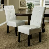 (Set of 2) Elegant Design Ivory Leather Dining Chair w ...